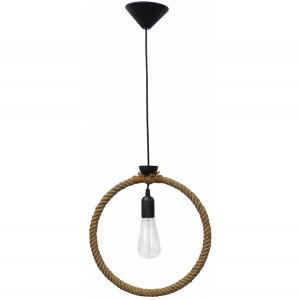 Φωτιστικό οροφής με κύκλο από φυσικό σχοινί μονόφωτο