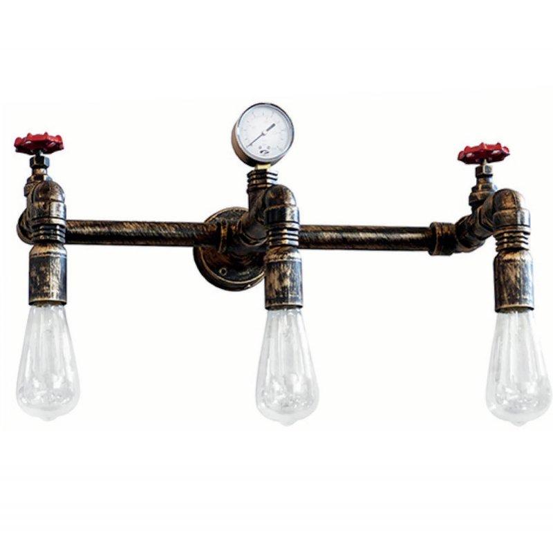 Industrial επιτοίχιο φωτιστικό με βρύσες και σωλήνες τρίφωτο σε 4 χρώματα
