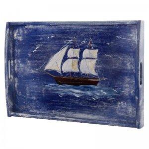 Ζωγραφιστός δίσκος σερβιρίσματος με θέμα καράβι 30x