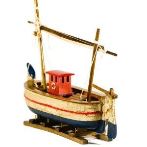 Παλαιωμένη Διακοσμητική Βάρκα με πανί 25 εκατοστά