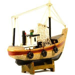 Διακοσμητικό Ψαροκάικο Ξύλινο Χειροποίητο 16cm παλαιωμένο