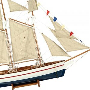 Kαράβι με πανιά διακοσμητικό ξύλινο Λευκό / Μπλε 50cm