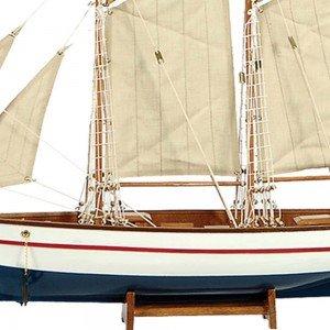 Boat Καράβι με πανιά διακοσμητικό ξύλινο Λευκό / Μπλε 90cm