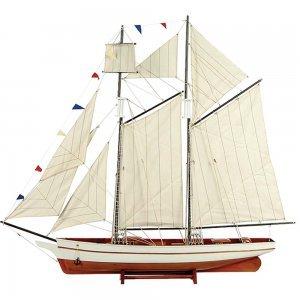 Boat Καράβι με πανιά διακοσμητικό ξύλινο Λευκό / Καφέ 150cm