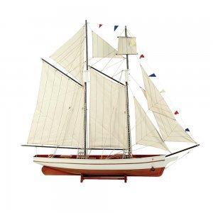 Boat Καράβι με πανιά διακοσμητικό ξύλινο Λευκό / Καφέ 90cm