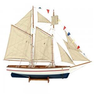 Boat Kαράβι με πανιά διακοσμητικό ξύλινο Λευκό / Μπλε 120cm