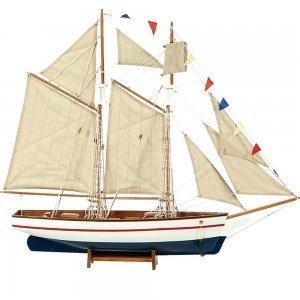 Boat Kαράβι με πανιά διακοσμητικό ξύλινο Λευκό / Μπλε 150cm