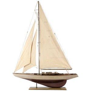 Διακοσμητικό Ιστιοπλοϊκό καράβι με καφέ σκαρί 75x14x98 εκ