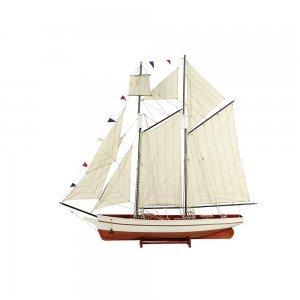 Kαράβι με πανιά διακοσμητικό ξύλινο Λευκό / Καφέ 50cm