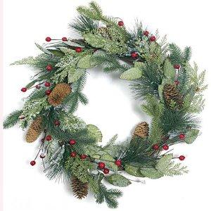 Χριστουγεννιάτικο Στεφάνι με Γκί και Κουκουνάρια 45 εκ