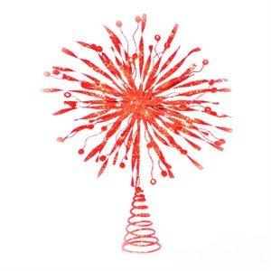KN Χριστουγεννιάτικη Κορυφή Δέντρου Κόκκινο 23cm