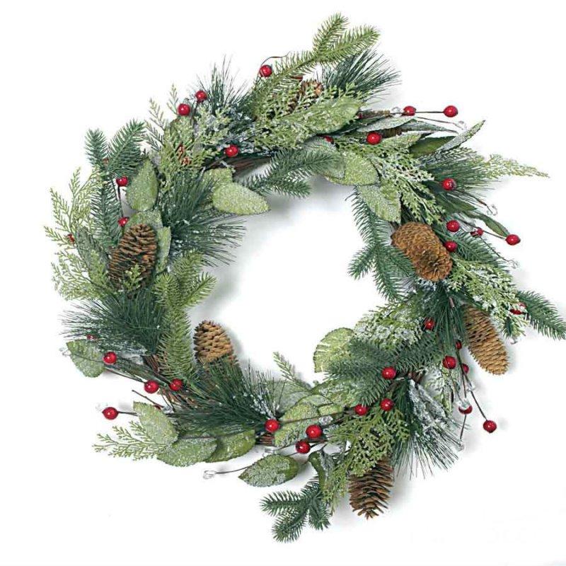 Χριστουγεννιάτικο Στεφάνι με Γκί και Κουκουνάρια 45cm