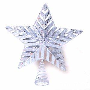 Χριστουγεννιάτικη Κορυφή Δέντρου Ασημί 23cm