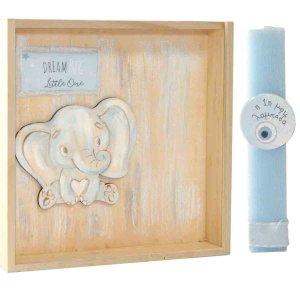 Πρώτη Πασχαλινή λαμπάδα χειροποίητη σε κουτί με γαλάζιο ελεφαντάκι 22x4x22 εκ
