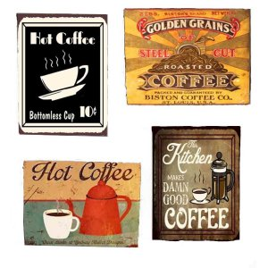 Μαγνητάκια Ψυγείου Χειροποίητα Coffee S/4 τεμ.