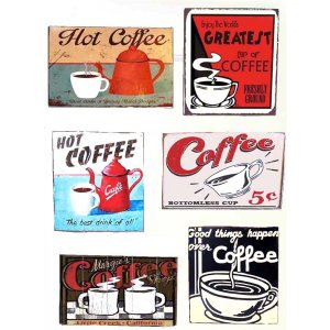 Μαγνητάκια Ψυγείου Χειροποίητα Coffee S/6 τεμ.