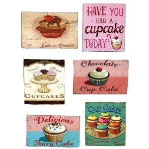 Μαγνητάκια Ψυγείου Χειροποίητα Cupcakes S/6 τεμ.