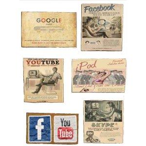 Μαγνητάκια Ψυγείου Χειροποίητα Vintage Web S/6 τεμ.