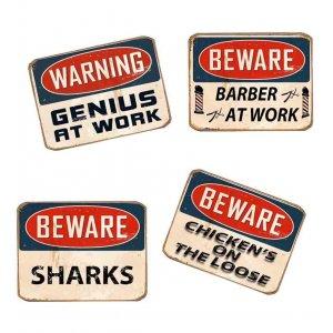 Μαγνητάκια Ψυγείου Χειροποίητα Warnings S/4 τεμ.