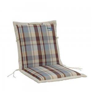 Καφέ και γαλάζιο μαξιλάρι πολυθρόνας καρώ