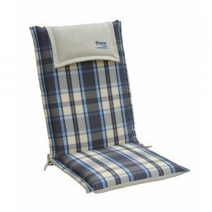 Καρώ μαξιλάρι μπλε γκρι με ψηλή πλάτη