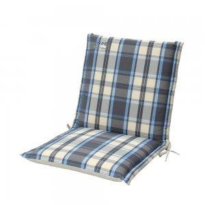 Καρώ μπλε γκρι μαξιλάρι πολυθρόνας με χαμηλή πλάτη