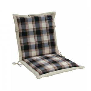 Μπεζ και μπλε καρώ μαξιλάρι πολυθρόνας