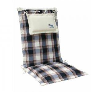 Μπλε μπεζ μαξιλάρι πολυθρόνας καρώ με ψηλή πλάτη
