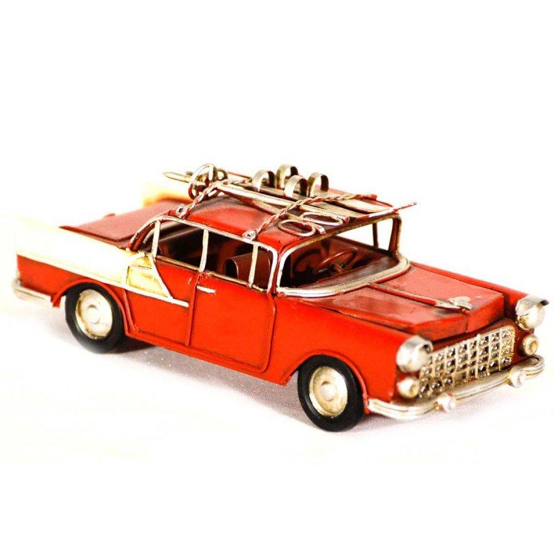 Vintage μεταλλικό διακοσμητικό Chevy κόκκινο με σκι