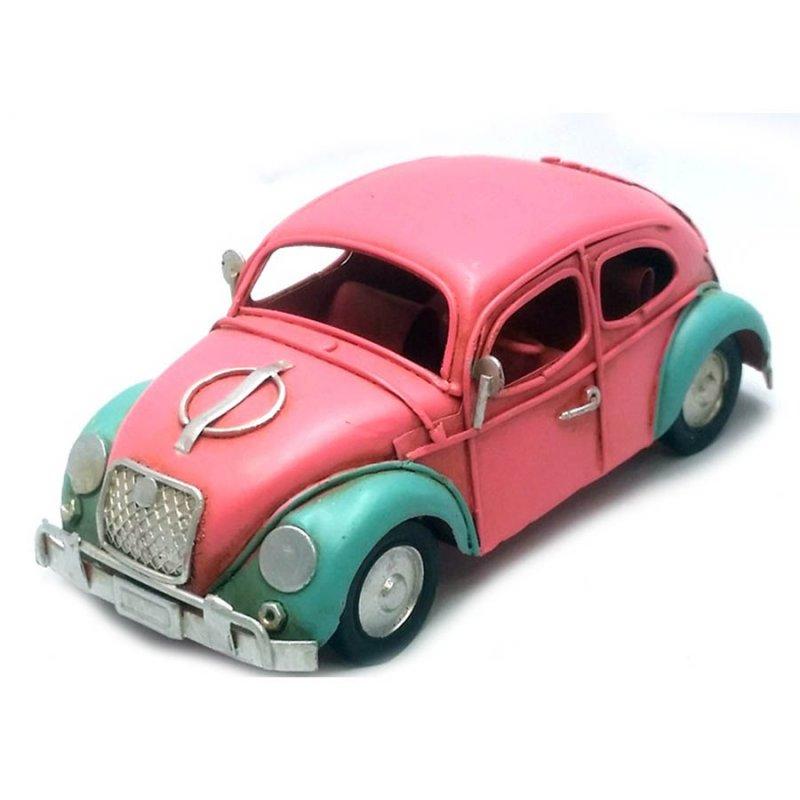 Μεταλλικό διακοσμητικό αυτοκίνητο σκαραβαίος ροζ με βεραμάν