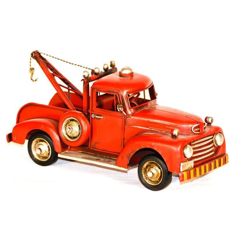Vintage διακοσμητικό μεταλλικό φορτηγάκι με γερανό  κόκκινο
