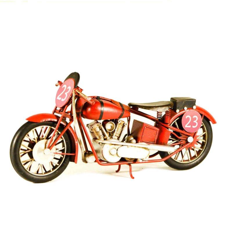 Μεταλλική vintage μοτοσυκλέτα διακοσμητική αγωνιστική κόκκινη
