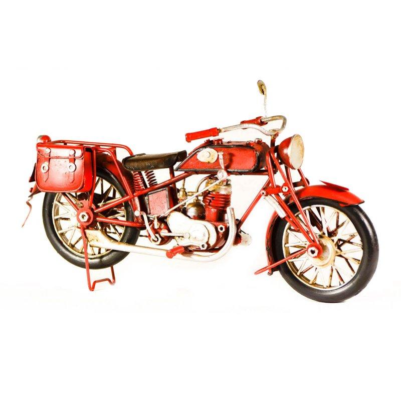 Μεταλλική vintage μοτοσυκλέτα διακοσμητική μονόσελη κόκκινη