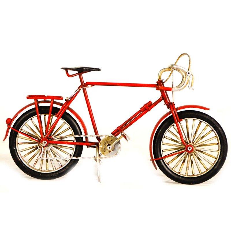 Ρετρό διακοσμητικό μεταλλικό ποδήλατο κόκκινο