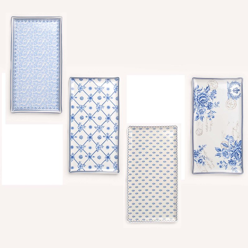 Vintage πορσελάνινες πιατέλες λευκό μπλε σετ 4 τεμ