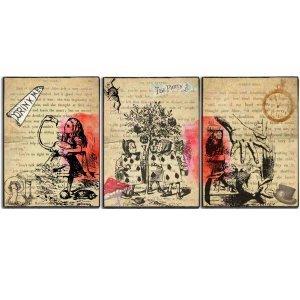 Τρίπτυχος πίνακας Vintage Alice 30Χ60 εκ