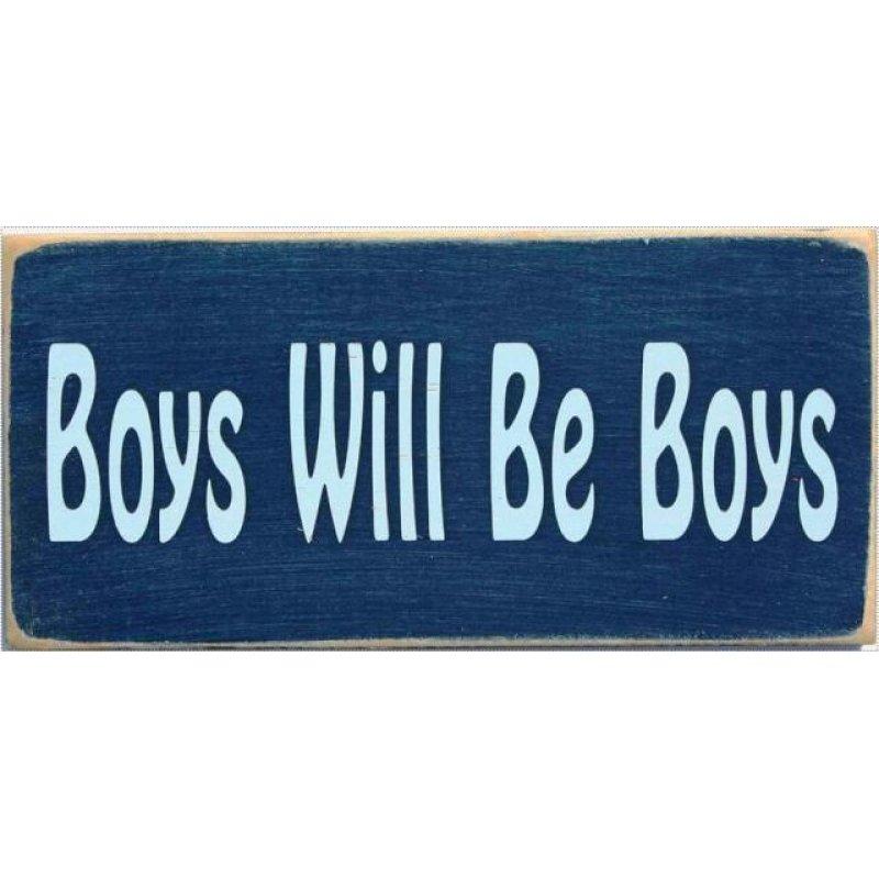 Ξύλινος Ρετρό Πίνακας Χειροποίητος 'Boys will be boys'