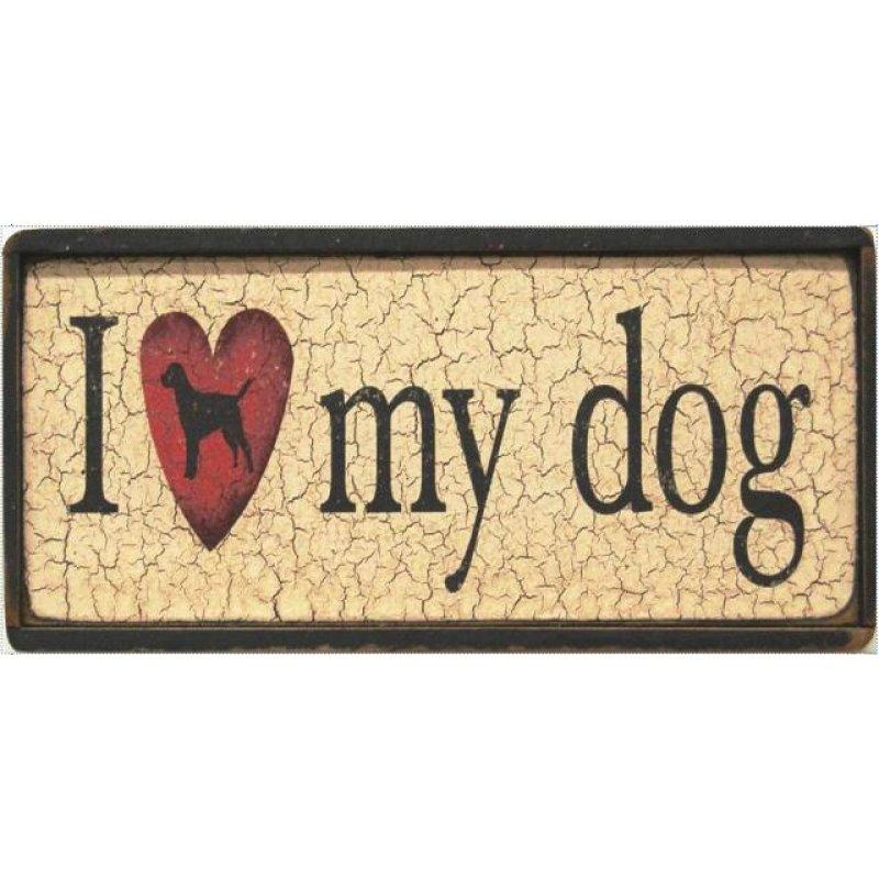 Ξύλινος Ρετρό Πίνακας Χειροποίητος 'I love my dog'