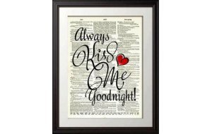 Ξύλινος Ρετρό Πίνακας Χειροποίητος Kiss me Goodnight