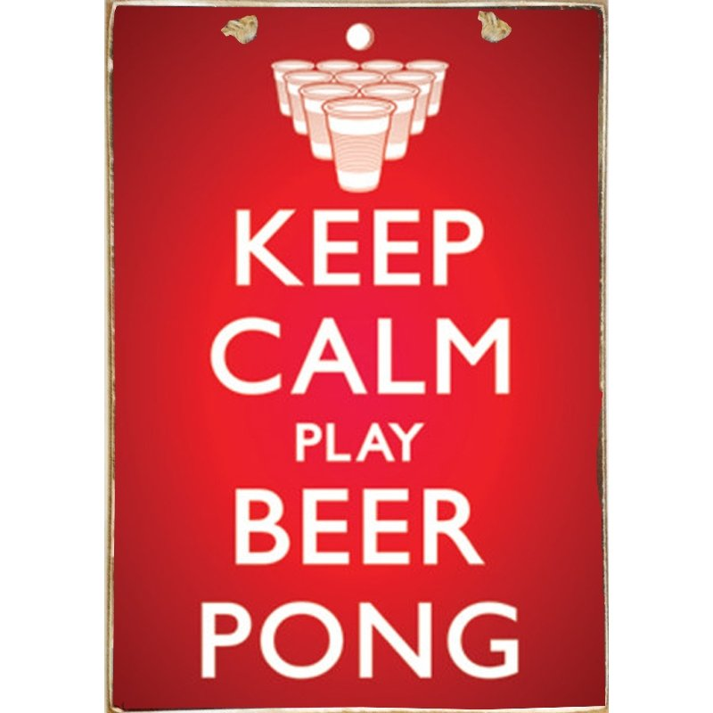 Ξύλινος Ρετρό Πίνακας Χειροποίητος  Keep Calm and Play Beer Pong  21cm X 30cm