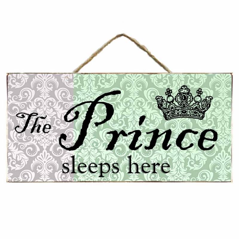 Ξύλινος Ρετρό Πίνακας Χειροποίητος The prince sleeps here 13Χ26 | Echo Deco