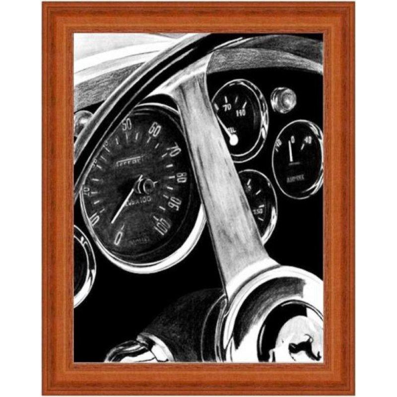 Χειροποίητος πίνακας με vintage ασπρόμαυρη απεικόνιση ταμπλό αυτοκινήτου σπορ