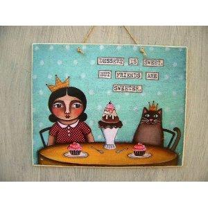 Ρετρό διακοσμητικό πινακάκι με μήνυμα για τη φιλία