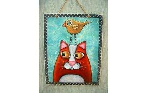 Πίνακας Χειροποίητος Γάτα και πουλάκι