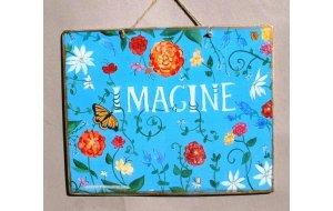 Ρετρό Πίνακας Χειροποίητος 'Imagine'