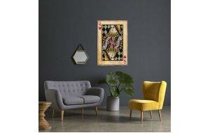 Ξύλινος χειροποίητος πίνακας Ντάμα Κούπα vintage τραπουλόχαρτο 20x30 εκ