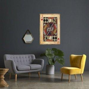 Πίνακας ξύλινος χειροποίητος vintage τραπουλόχαρτο Β&alph