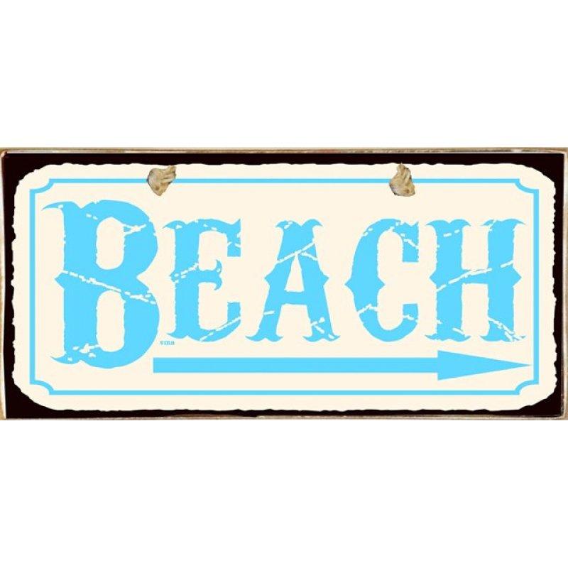Beach Ξύλινος Vintage Πίνακας 13 x 26 cm