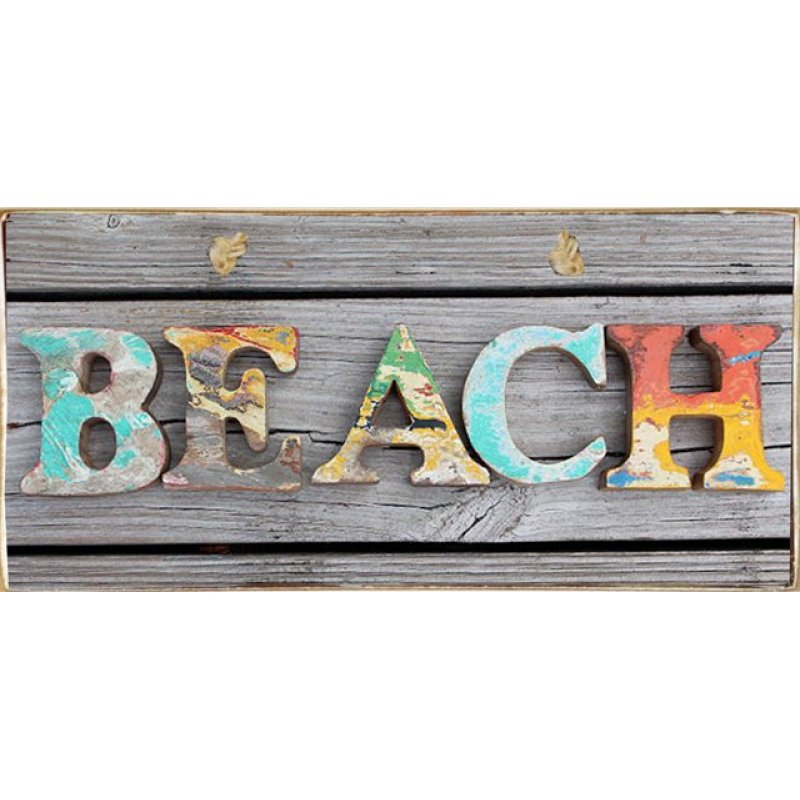 Beach Multicolor Ξύλινος Vintage Πίνακας 20 x 30 cm