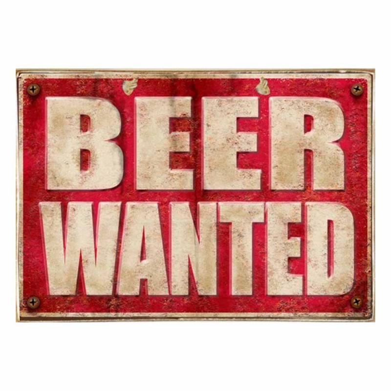 Beer Wanted Ξύλινος Vintage Πίνακας 20 x 30 cm